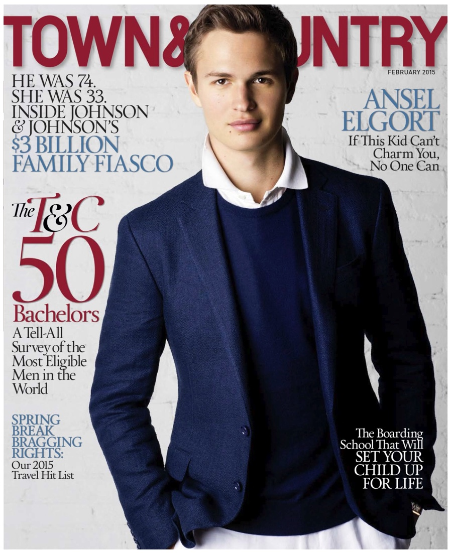 Ansel Elgort Covers Town & Country February 2015 Issue, Photographed by Father Arthur Elgort