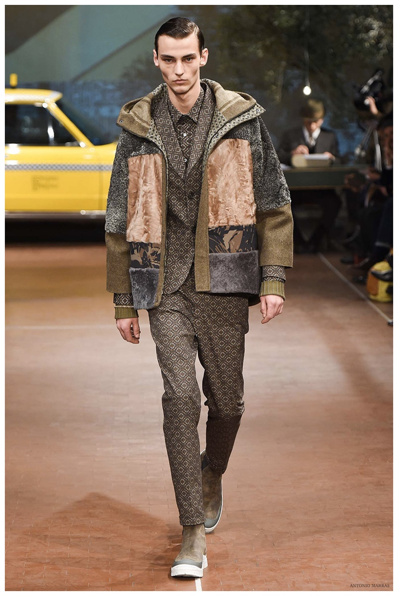 Antonio Marras Fall-Winter 2015 Menswear Collection. Designer Antonio Marras was inspired by the movie Taxi Driver for his fall collection. The iconic movie provided for a smart selection of separates, which highlighted pieces like patchwork jackets, combining various materials and colors for an interesting take on the season.