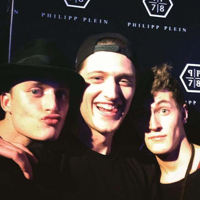 Bastiaan Van Gaalen, Demy Matzen and Rutger Schoone attend Philipp Plein's fashion week party