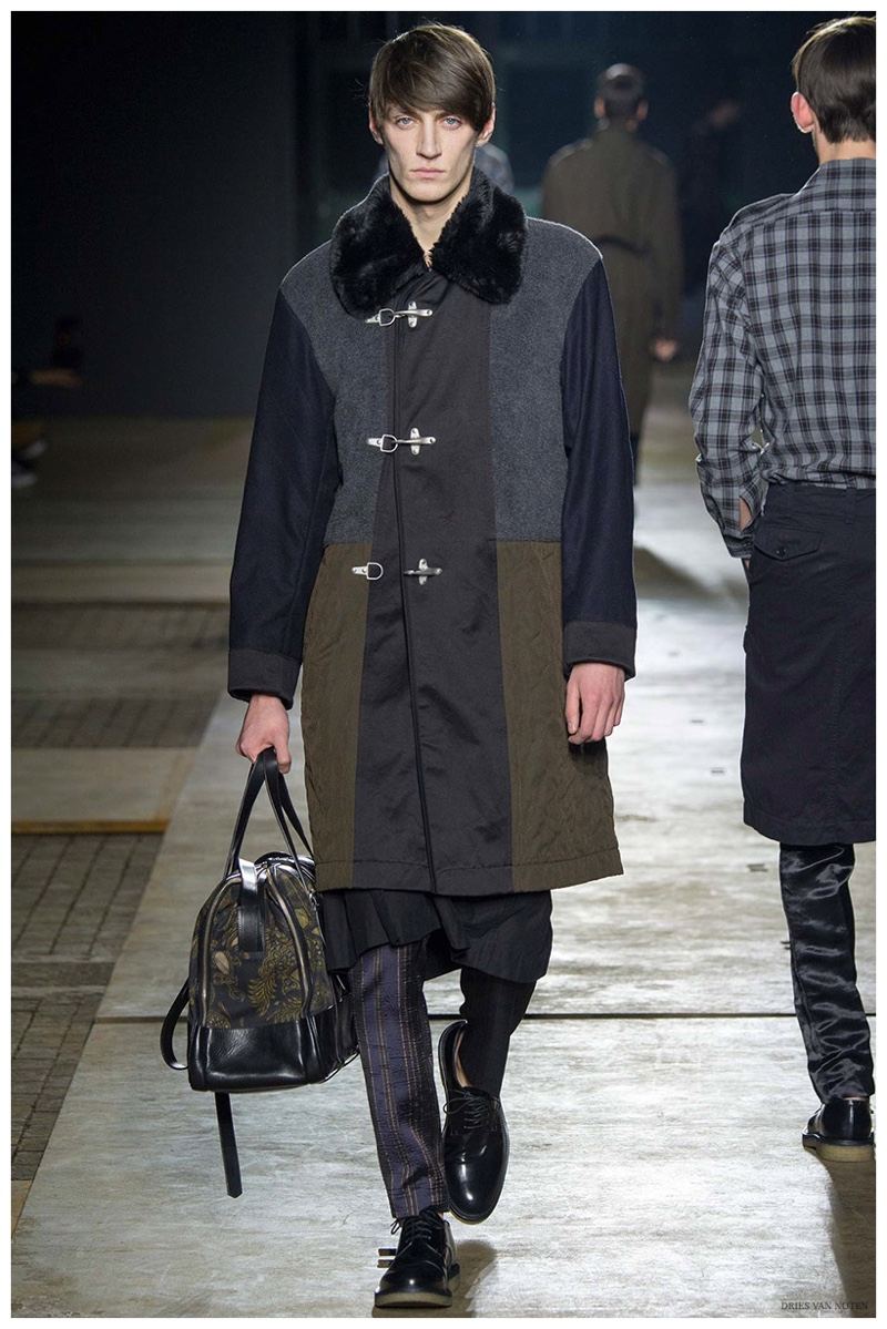 Dries Van Noten Fall-Winter 2015 Menswear Collection. Belgian designer Dries Van Noten delivered a brilliant fall collection inspired by firemen. The firefighter jacket was reimagined here with a clever color blocking scheme.