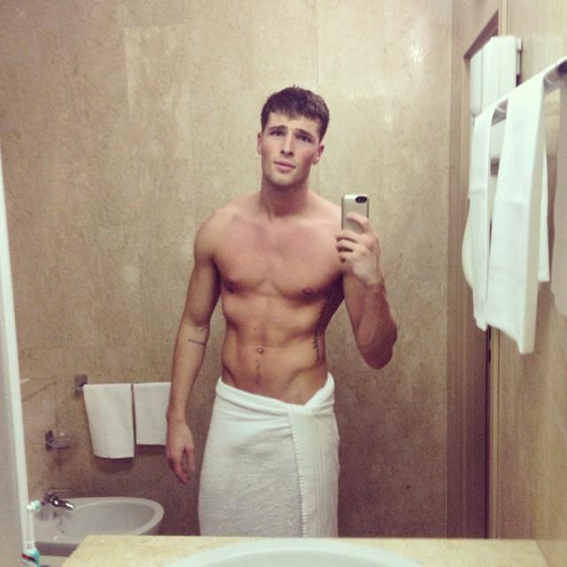 Edward Wilding sports a chic towel