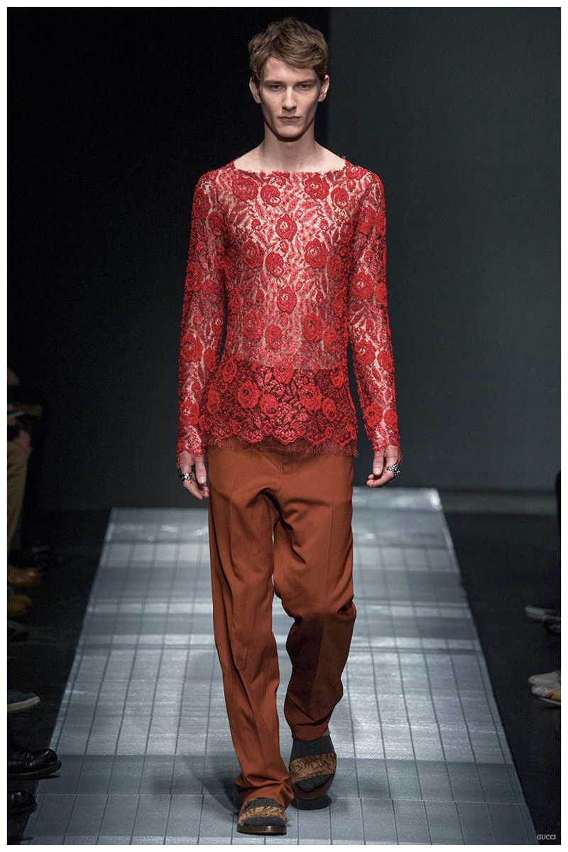 New Gucci creative director Alessandro Michele proposed a fragile approach to menswear for his debut collection for Gucci fall/winter 2015.
