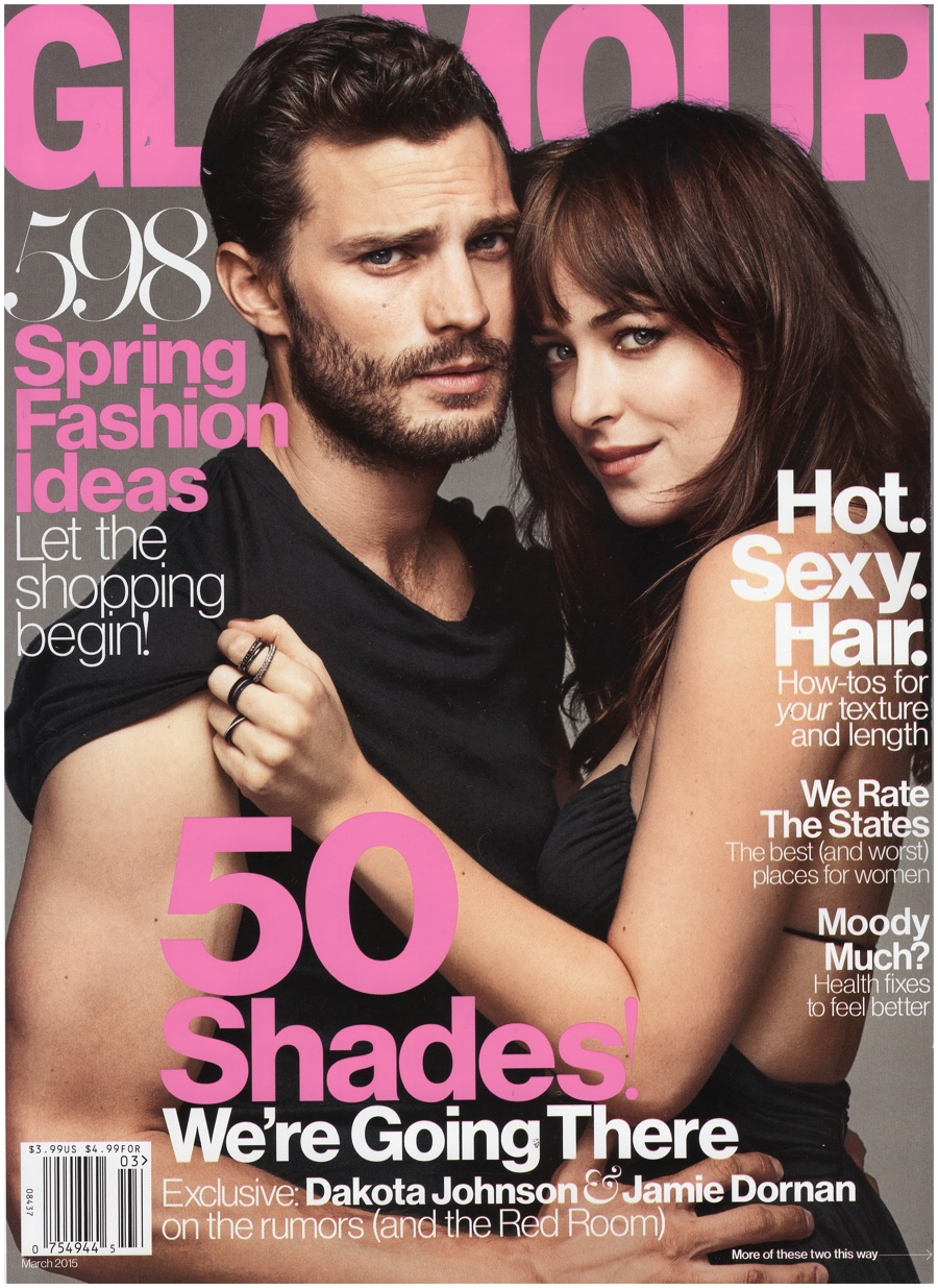 Jamie Dornan Joins 'Fifty Shades of Grey' Co-star Dakota Johnson for Glamour March 2015 Cover Shoot