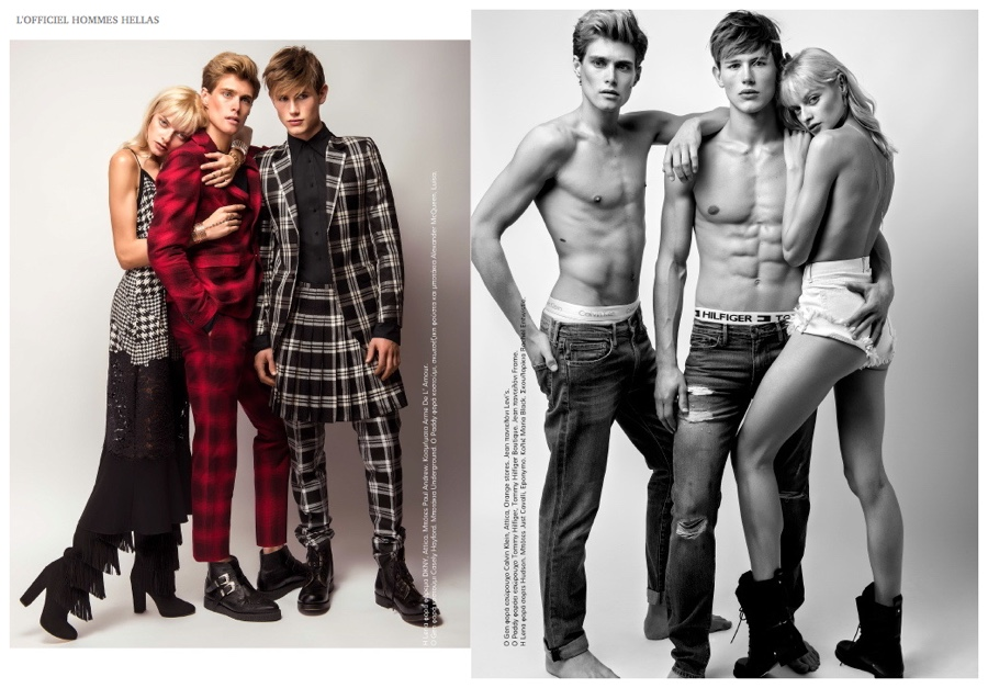 Gen Huismans & Paddy Mitchell Model Eclectic Fashion Styles for L'Officiel Hommes Hellas
