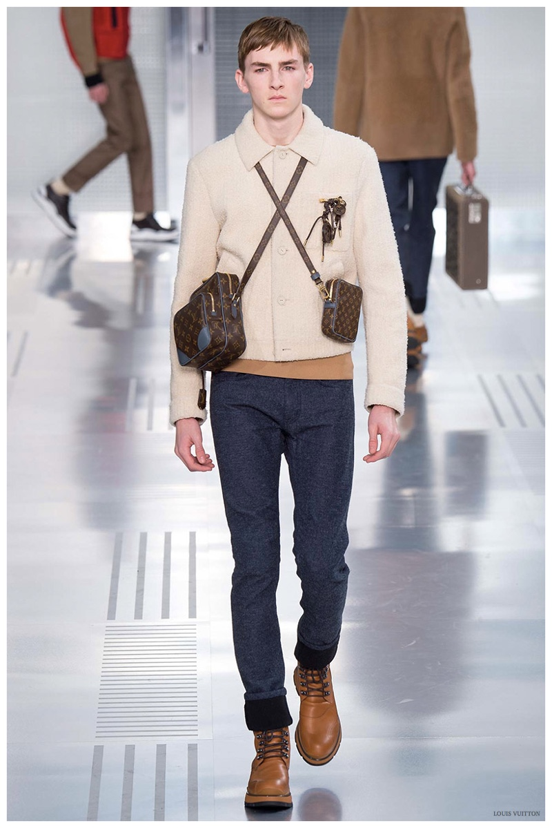 Louis Vuitton Fall-Winter 2015 Menswear Collection. Louis Vuitton creative director Kim Jones delivered a light hand as he revisited the iconic shirt jacket in a lightweight, beige colored shearling.