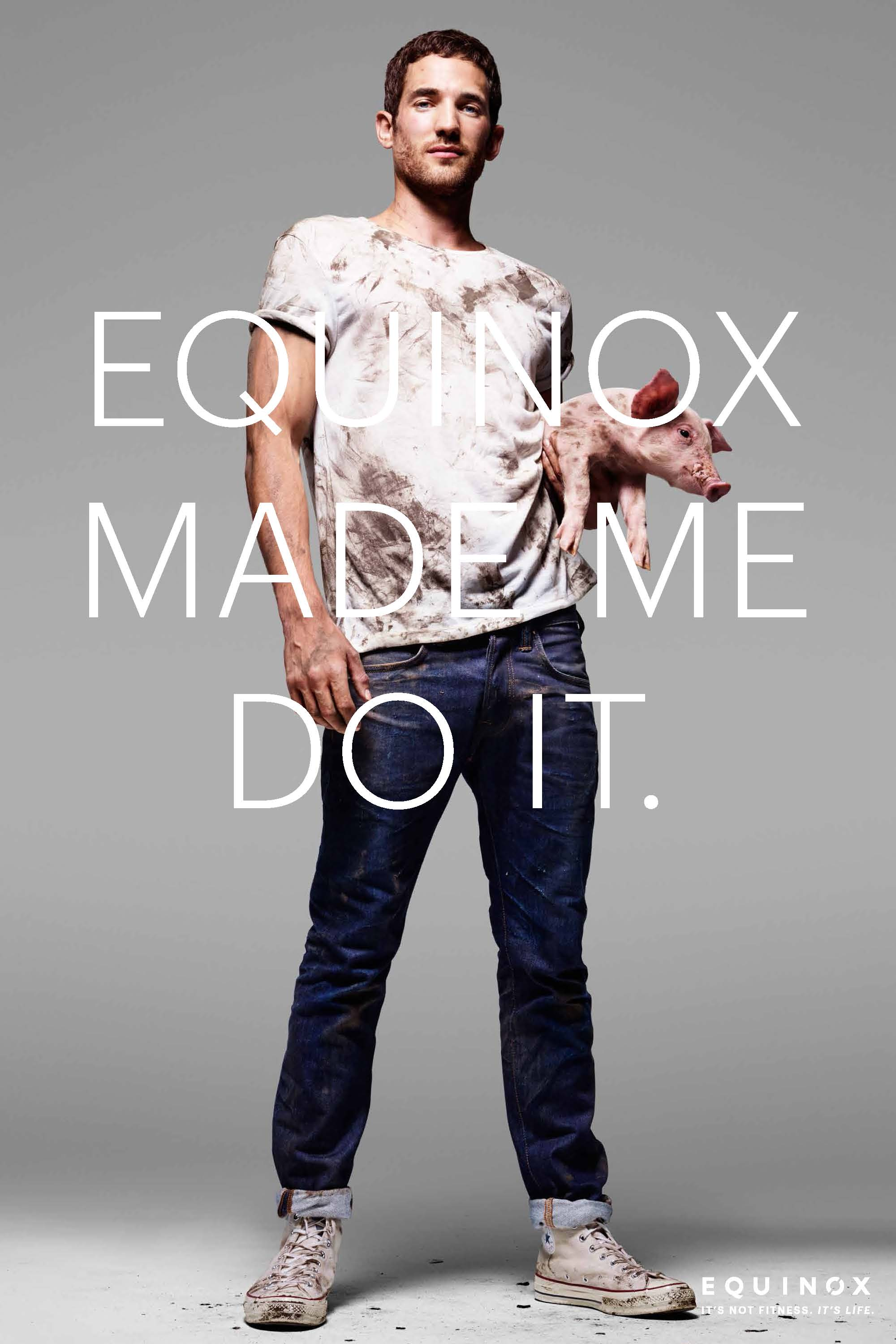 Max Rogers Poses with Dirty Piglet for Equinox Campaign