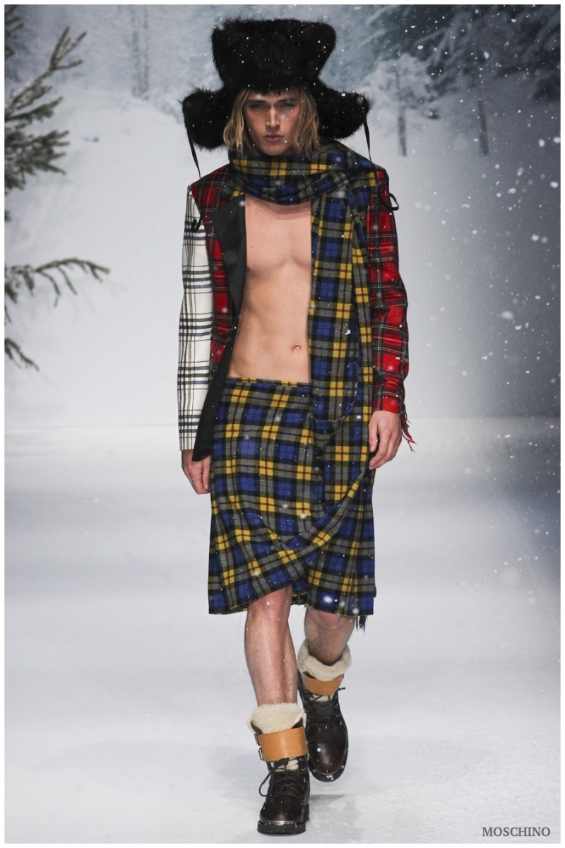 Moschino Fall/Winter 2015: Moschino creative director Jeremy Scott looks to tartan for a playful take on the season. Now the questions is, to kilt or not to kilt?