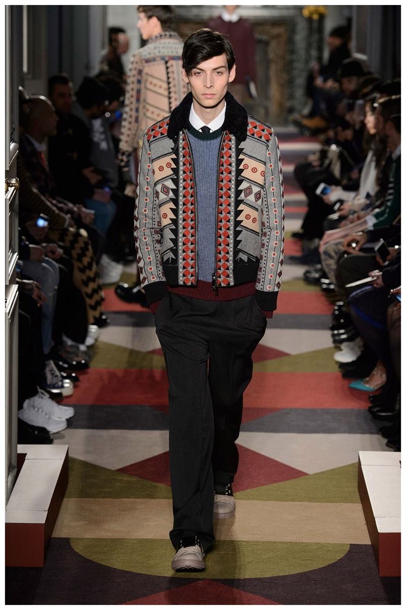 936fb5d7c6 Valentino Fall/Winter 2015 Menswear Collection: Geometric Print Fashions