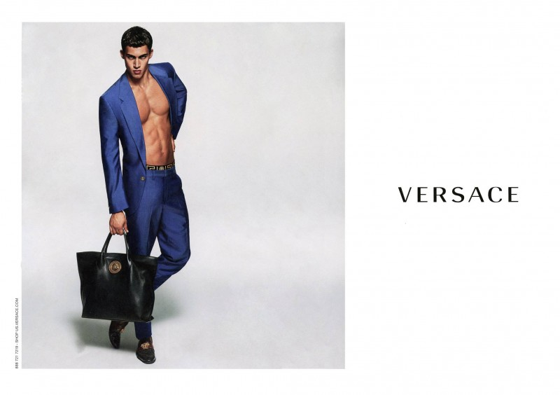Alessio Pozzi stars in Versace Men's spring-summer 2015 campaign, wearing a striking blue suiting number.