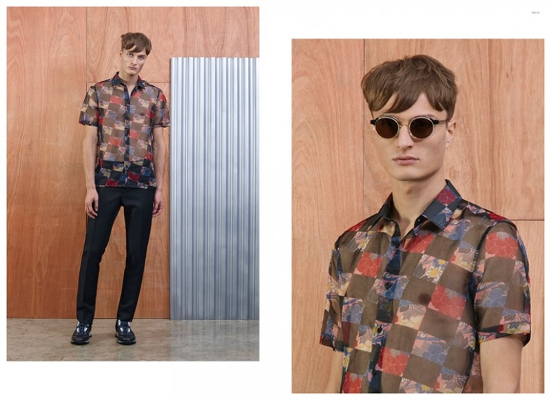 Left RAF SIMONS Sheer Floral Shirt RAF SIMONS Five-Button Fly Trouser LANVIN Mesh Sport Sneakers Right THIERRY LASRY Gold-Framed Sunglasses RAF SIMONS Sheer Floral Shirt