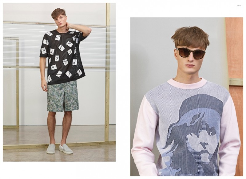 Left CHRISTOPHER RAEBURN Card Motif Sweatshirt CHRISTOPHER RAEBURN Floral Print Shorts LANVIN Suede Slip-On Sneakers Right THIERRY LASRY Rounded Acetate Sunglasses KENZO Les Miserables Jumper