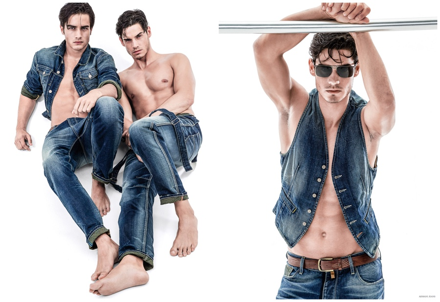Armani Jeans Goes Blue + Embraces Prints for Spring 2015 Men's Collection