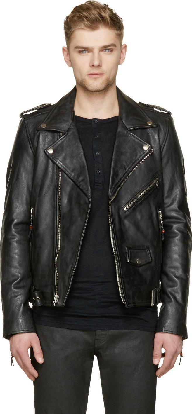 Men's Black Leather Biker Jackets: Spring 2015 Edition