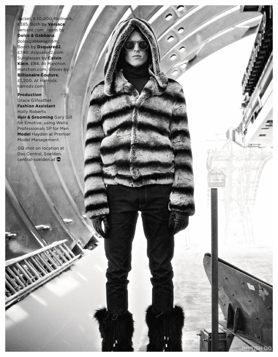 Hayden Kyte Models Fur Fashions for British GQ Editorial Shoot