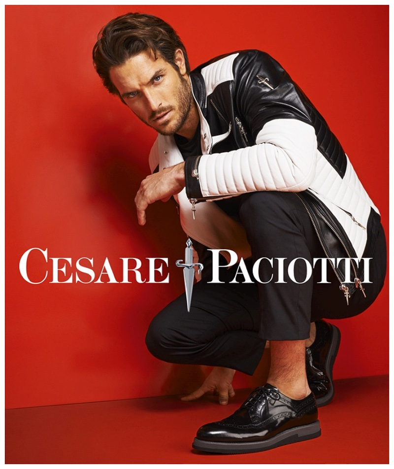 Justice Joslin Rocks Black & White Leather Looks for Cesare Paciotti Spring/Summer 2015 Campaign