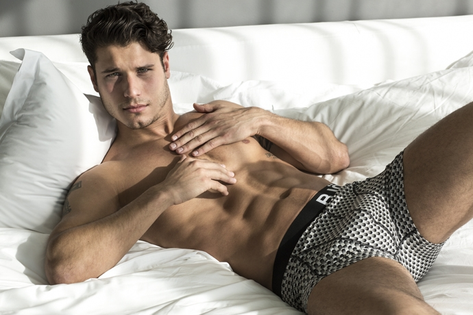 Cody relaxes in a pair of printed underwear from Bjorn Borg.