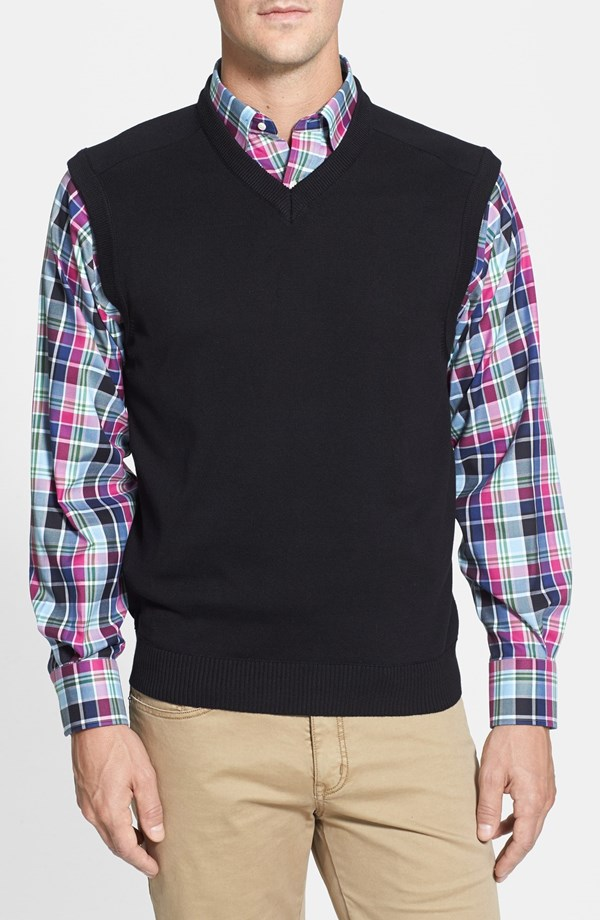 Men's V-neck vest - black woven cotton oiVGYy8V
