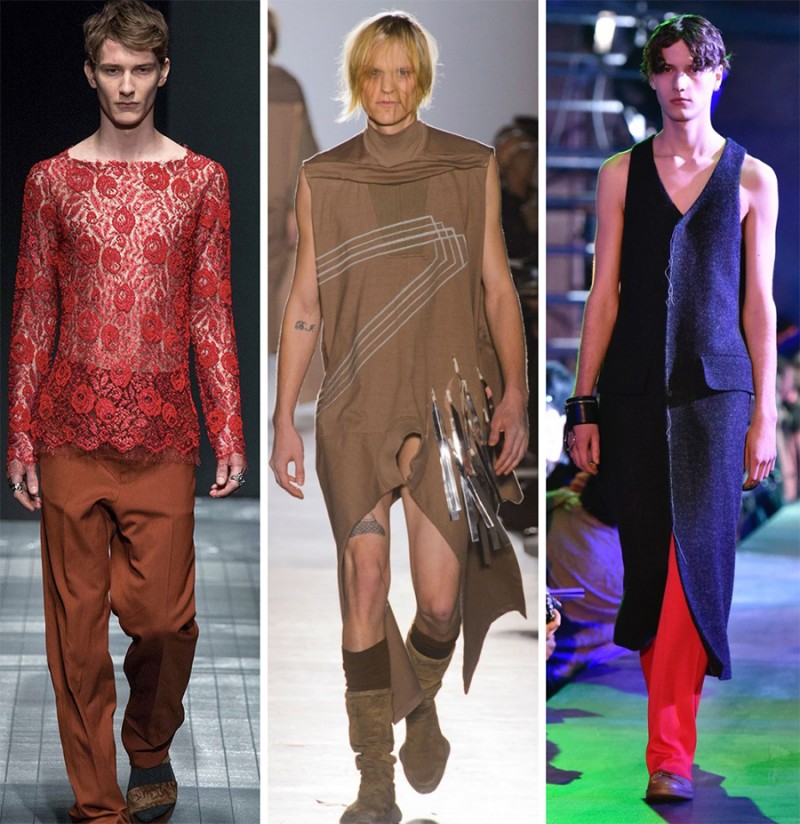 Left to Right: Gucci, Rick Owens, Raf Simons