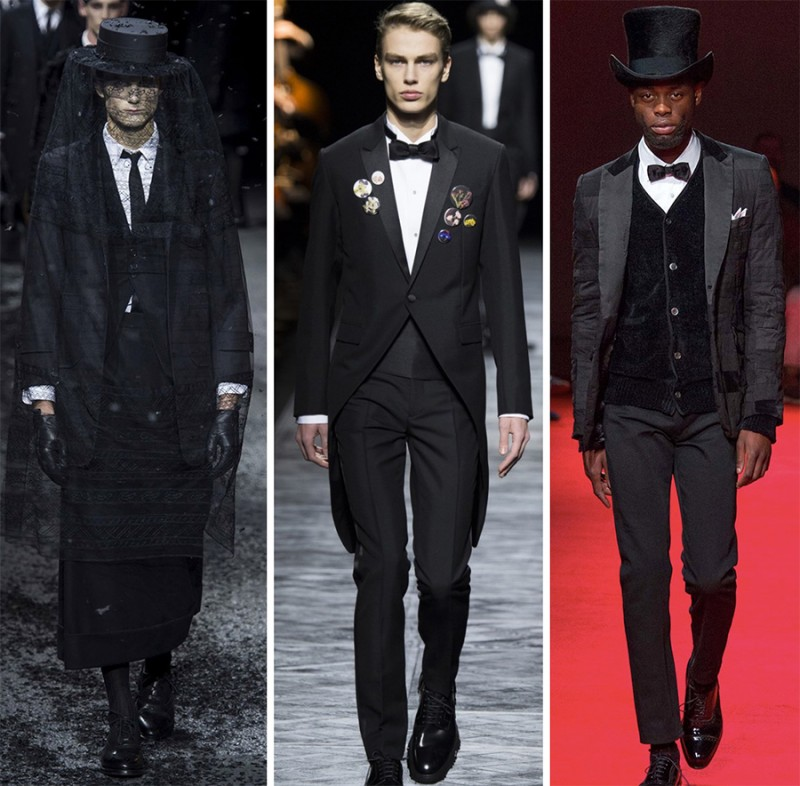Left to Right: Thom Browne, Dior Homme, Junya Watanabe