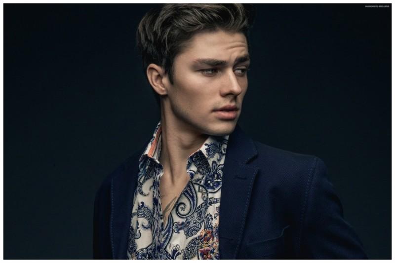 Tyler wears blazer and shirt Robert Graham.
