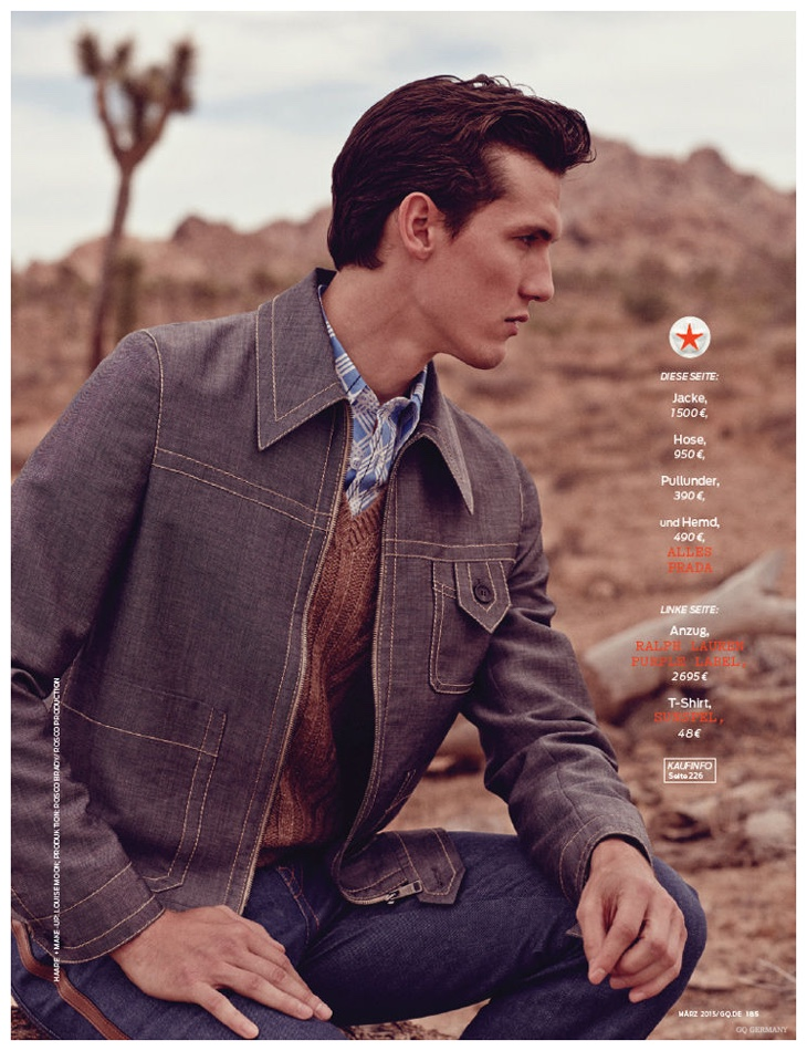 Tyler Riggs embraces a modern take on denim with Prada's structured menswear pieces.