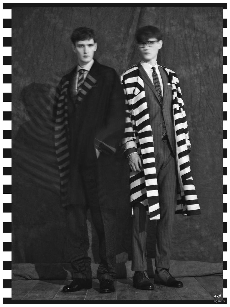 Stripe Club: Adam Butcher & Yannick Abrath Model Chic Striped Men's Spring Fashions for GQ Italia Shoot