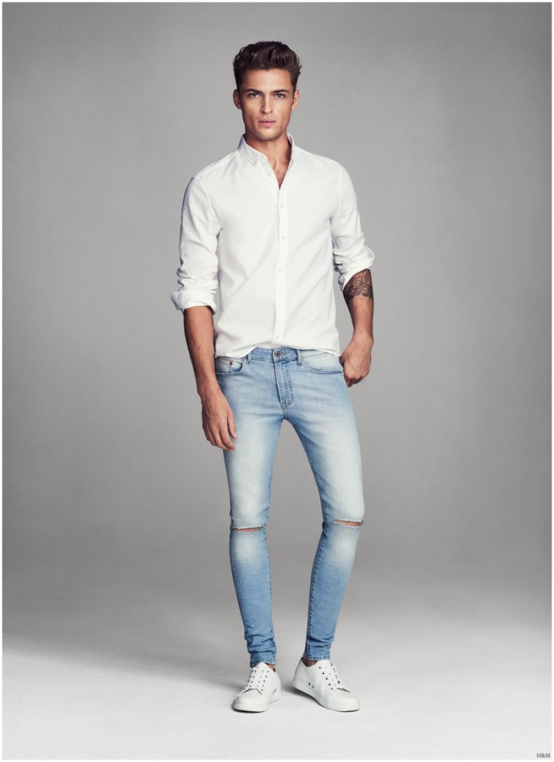 Harvey Haydon Models Super Skinny Denim Jeans for Hu0026M Men