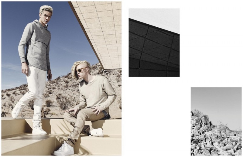 Neutral Territory: Lucky Blue Smith and Shaun Ross wear sporty fits with a light color scheme, perfect for spring.
