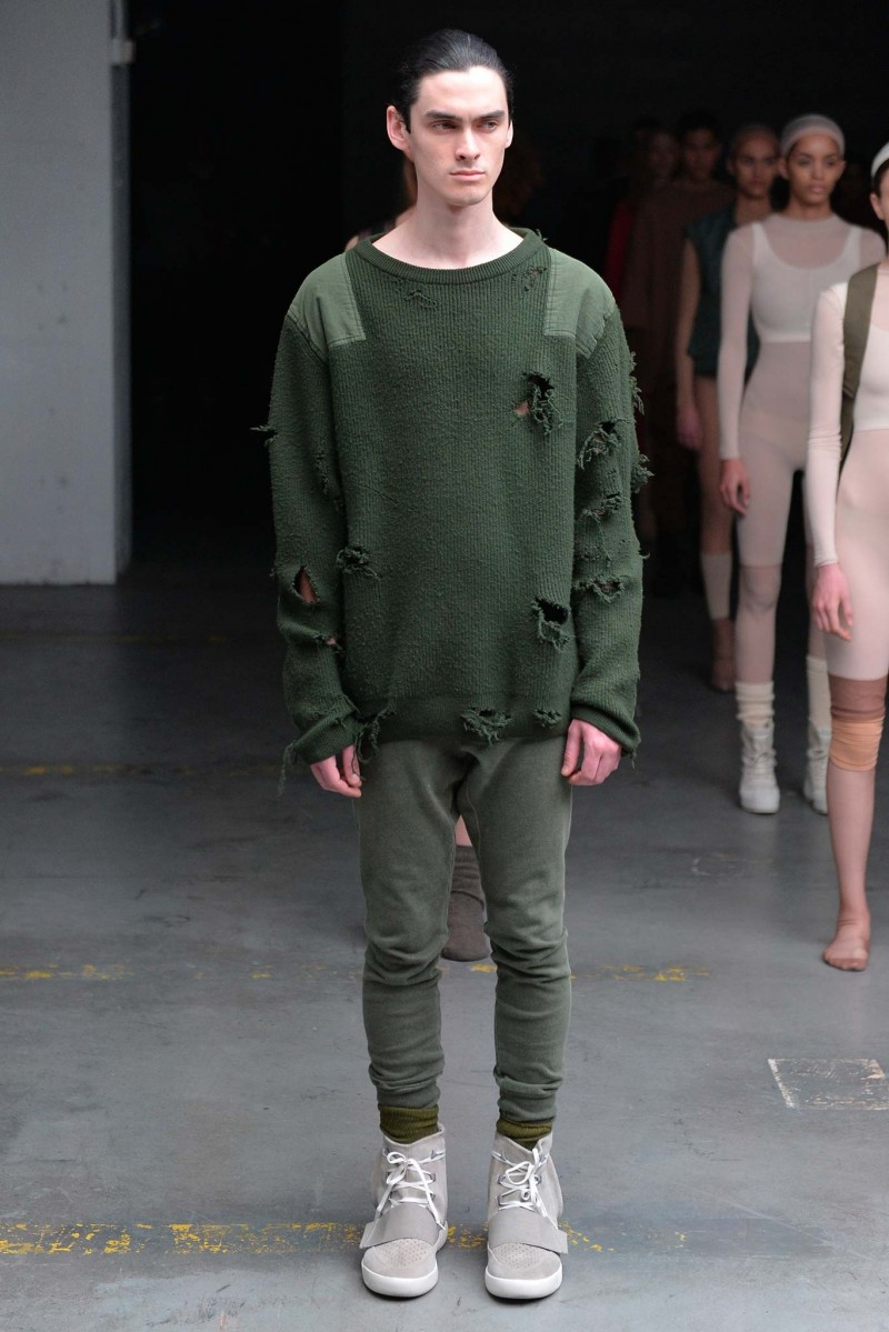 Kanye West Embraces A Tattered Grunge Look Knit Sweater For His Adidas Originals Collaboration Yeezy