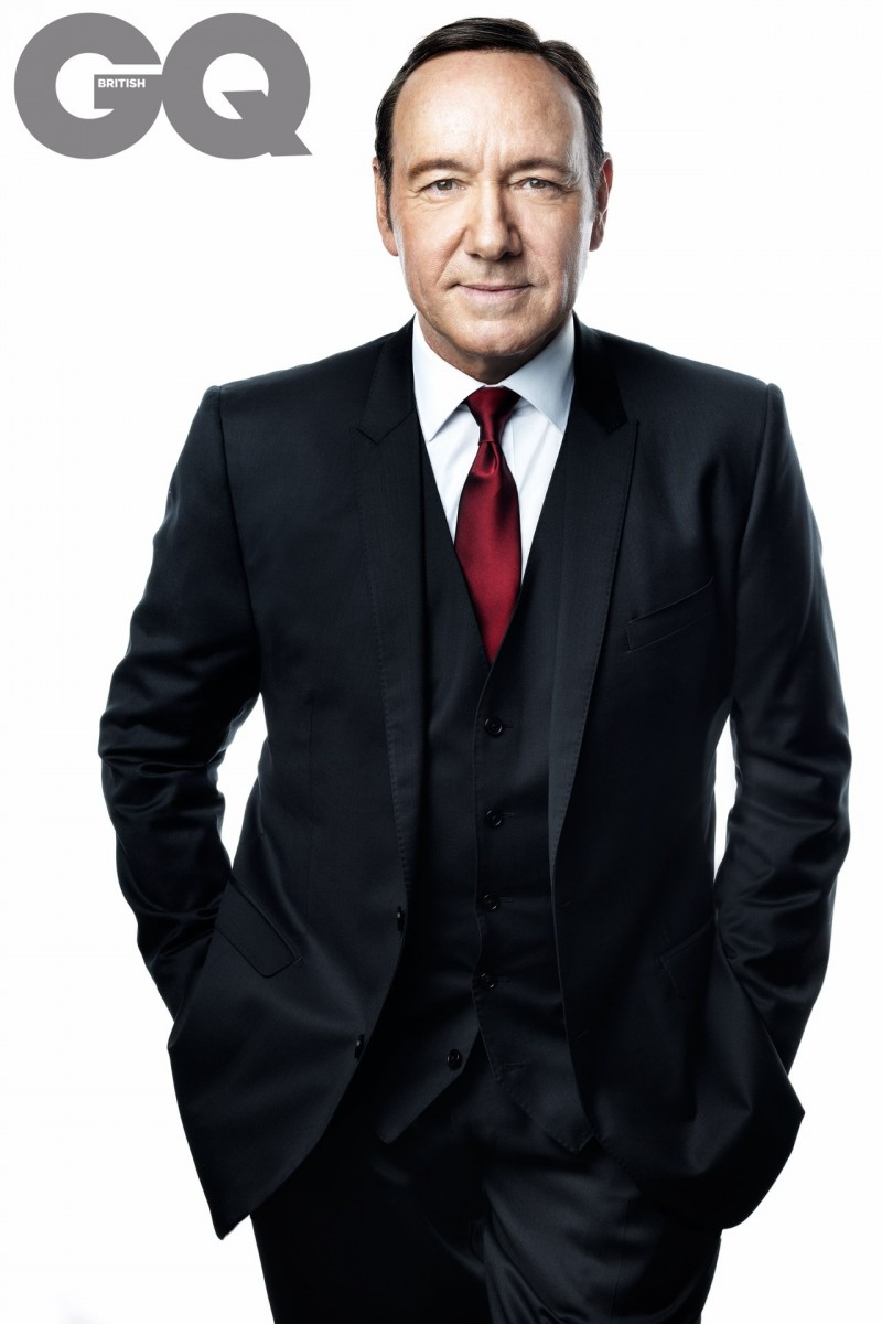 Kevin Spacey puts on his best political face while posing in a three-piece suit.