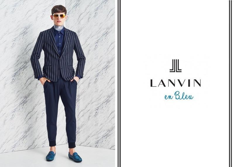 Jakub Pastor Models Sartorial Blue Fashions for Lanvin En Bleu Spring/Summer 2015 Campaign