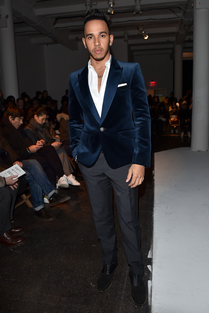 Lewis Hamilton Wears Balmain Fall 2015 Velvet Jacket