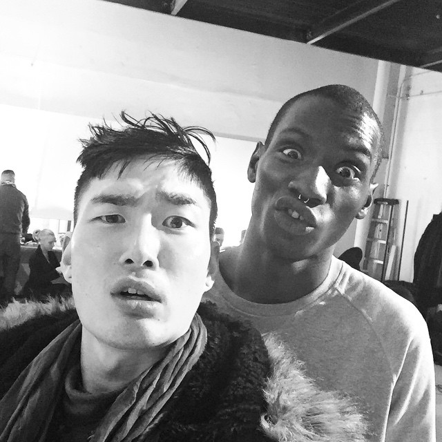 Noma Han and Adonis Bosso pose for a selfie during NYFW.