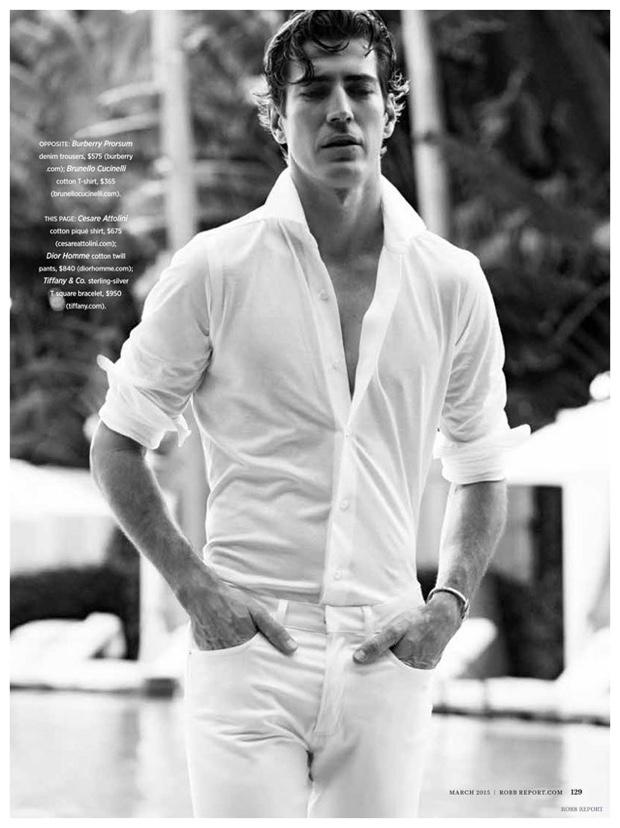 White Heat: Oriol Elcacho Models White Spring Men's Fashions for Robb Report Fashion Shoot