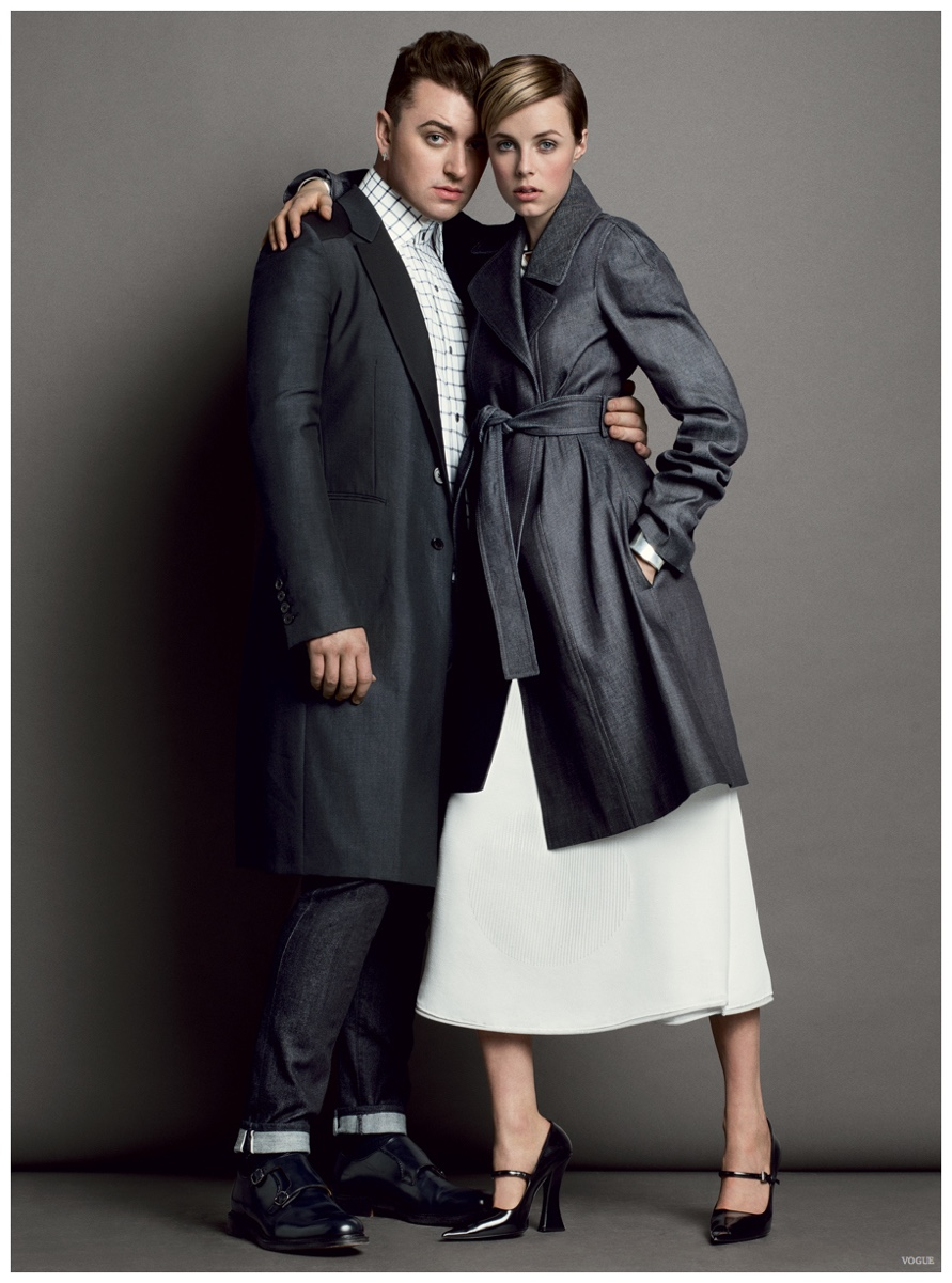 Sam Smith Joins Edie Campbell for Vogue March 2015 Denim Shoot