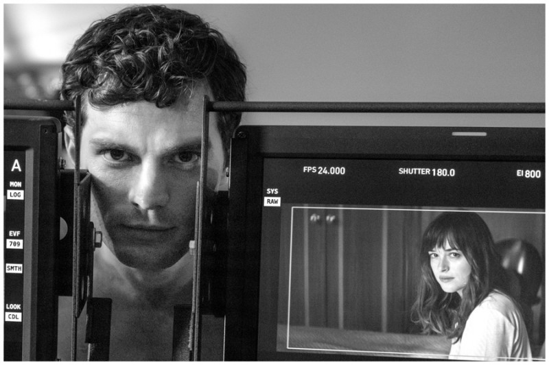 Jamie Dornan captured behind the scenes filming Fifty Shades of Grey.