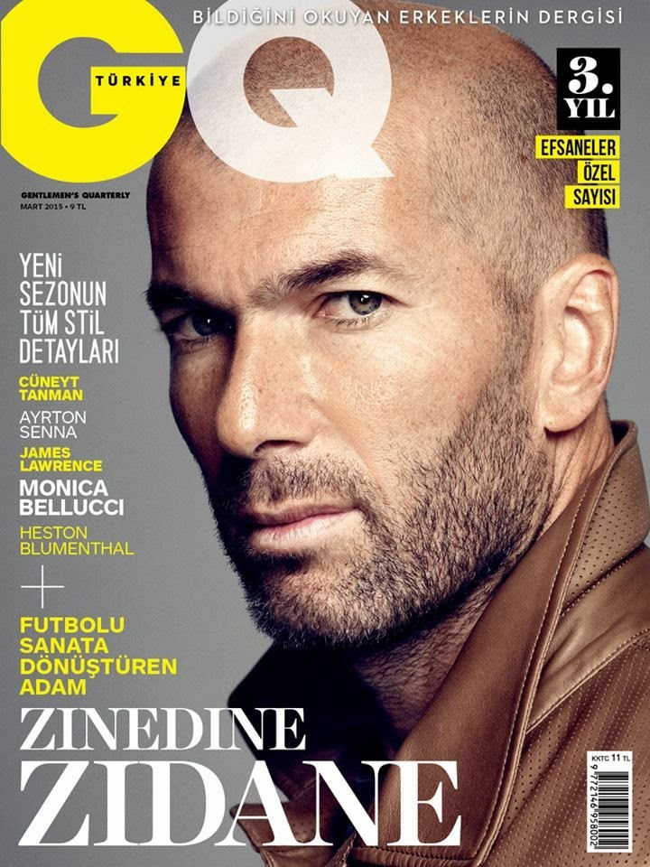 Zinedine Zidane Covers GQ Turkey March 2015 Issue in Brown Leather Jacket