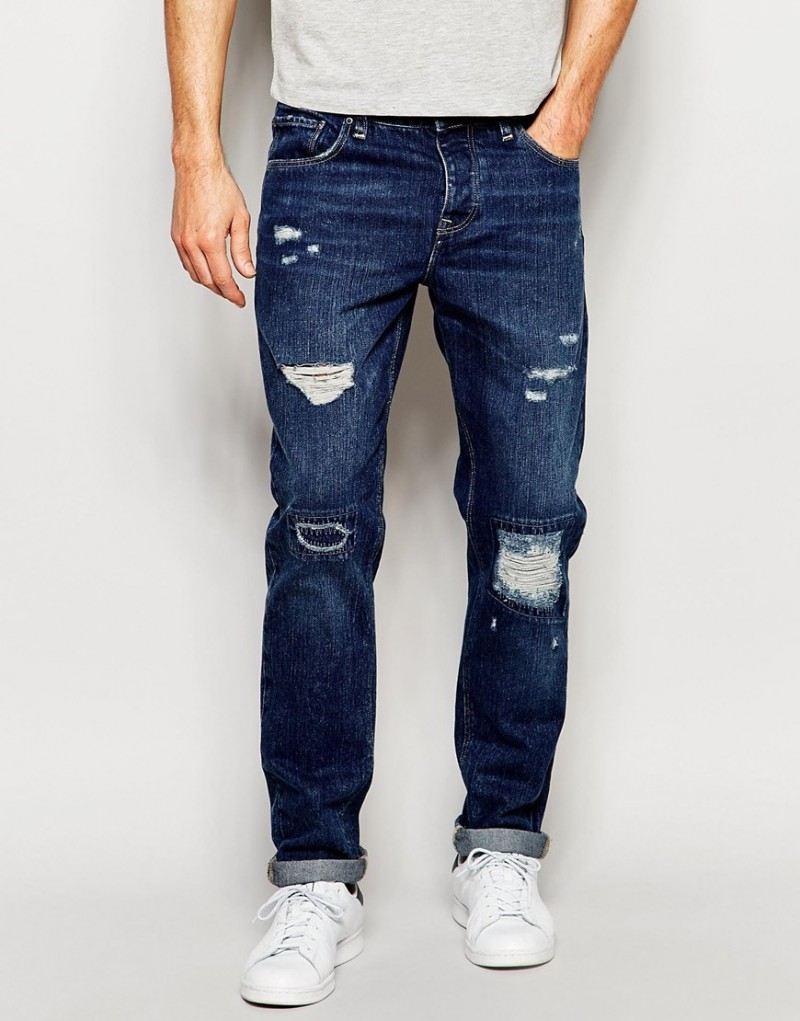 ASOS Slim Jeans Ripped in Mid Blue