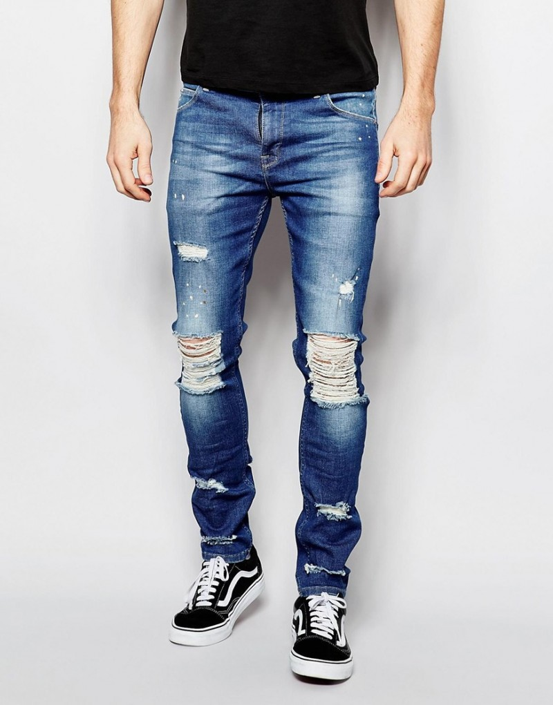 ASOS Super Skinny Jeans with Extreme Knee Rips