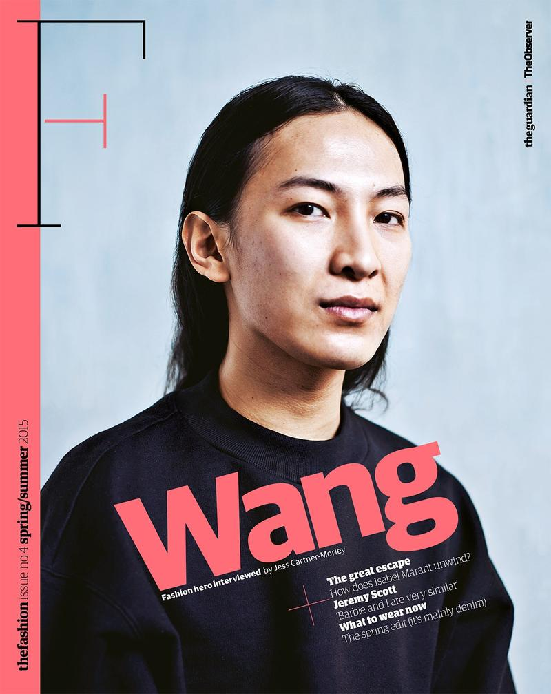 Designer Alexander Wang covers the spring-summer 2015 issue of The Fashion from The Guardian. Photo by Van Sarki.