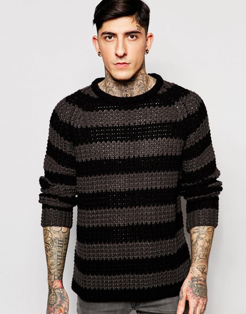 Shop Modern Grunge Style Cheap Monday Stripe Knitted Sweater In Black Grey