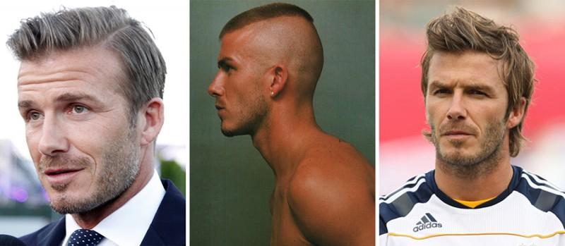 David Beckham hair styles over the years.