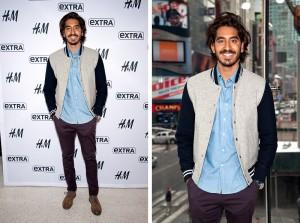 Dev Patel Wears GANT Varsity Jacket to Extra