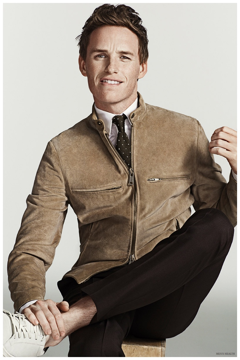 Eddie Redmayne trades out a blazer and sports a leather jacket from Todd Snyder.