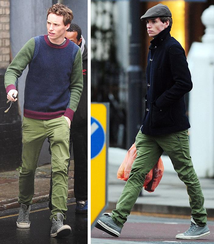 Eddie Redmayne gets multi-wear out of his slim green pants.