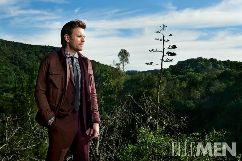Taking in the sights outdoors, Ewan McGregor sports a burgundy ensemble.