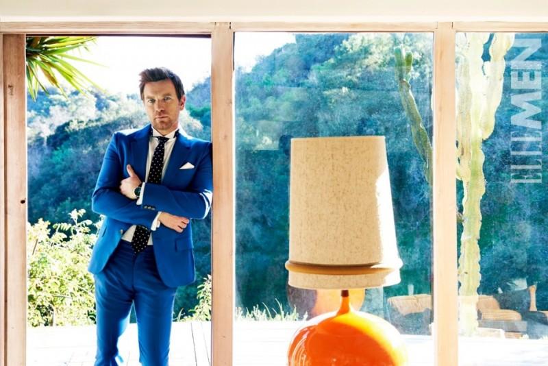 Ewan McGregor is stunning in a boyish blue suit.