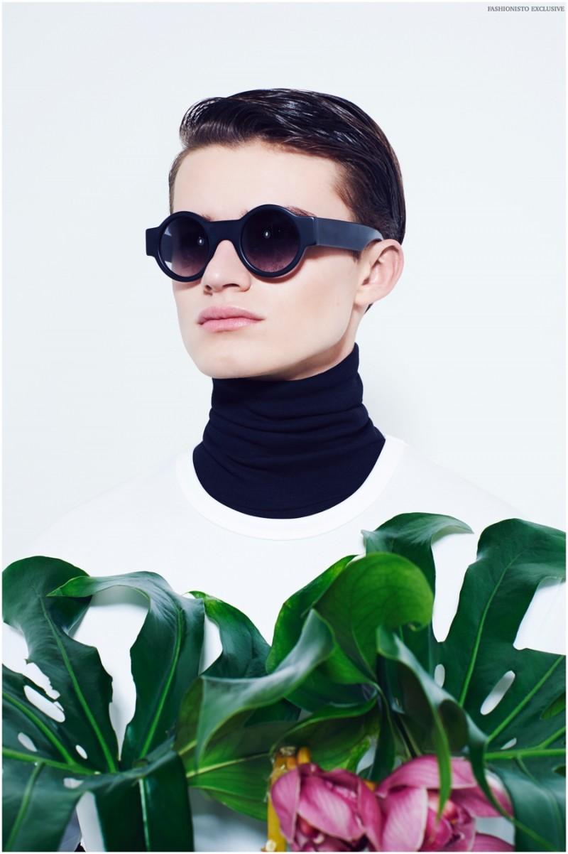 Reece wears sunglasses Black Eyewear, tee and turtleneck Topman.
