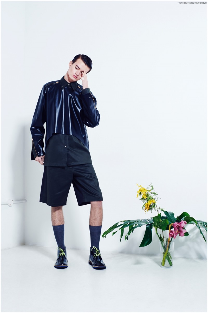 Reece wears socks Pantherella, button-down leather overlay, shorts and shoes Cello Yasei.