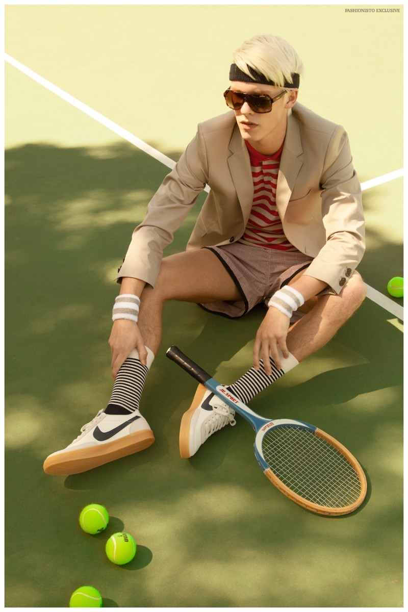 August wears headband American Apparel, blazer Paul Smith from Bloomingdales SF, polo shirt Burberry from Bloomingdales SF, wristbands American Apparel, vintage shorts from Wastelands SF, shoes NIKE, socks Happy socks and sunglasses Carrera from Bloomingdales SF.